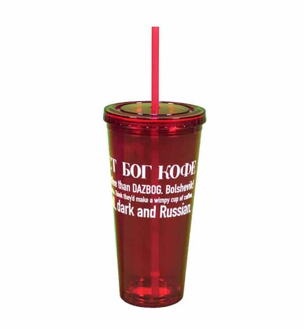 Acrylic Red Tumbler w/ Straw 16oz