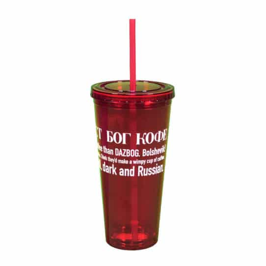 Acrylic Red Tumbler w/ Straw 24oz